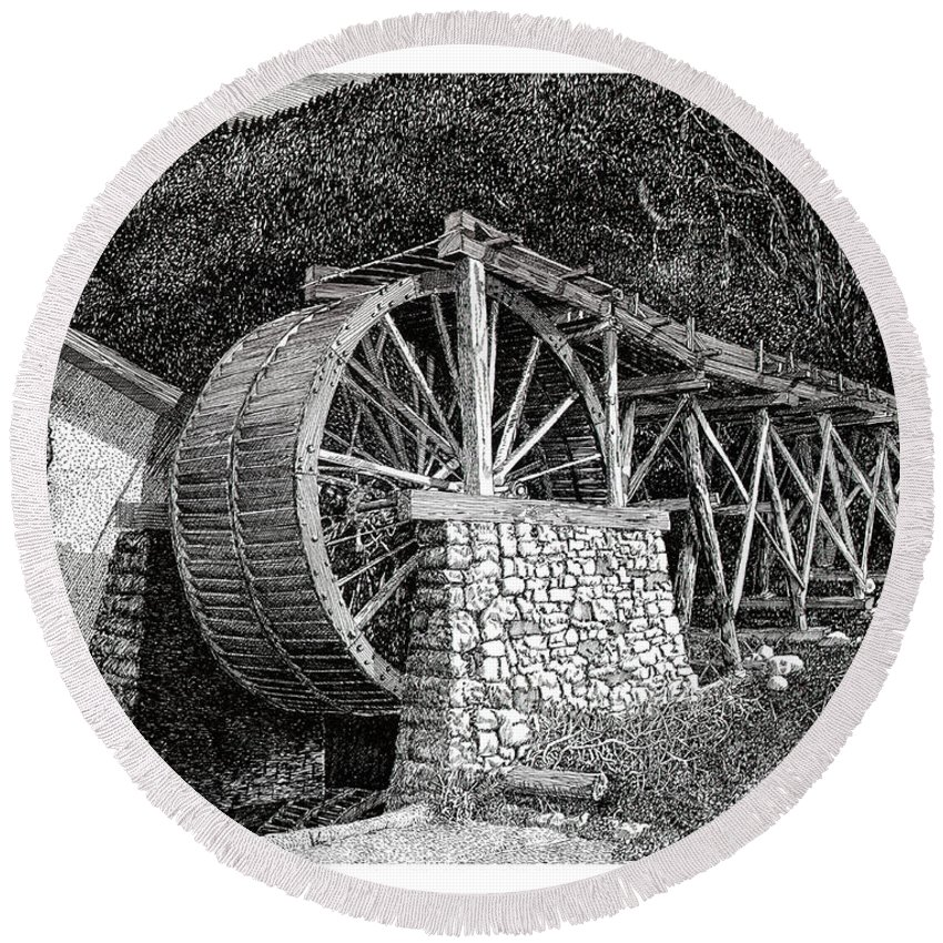 Images Of Ruidoso Waterwheel Scenic Structures Round Beach Towel featuring the drawing Ruidoso Waterwheel by Jack Pumphrey