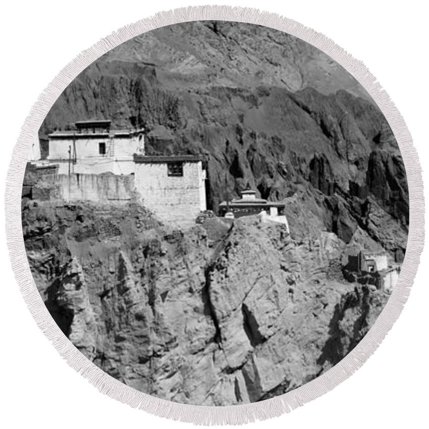 Ladakh Round Beach Towel featuring the photograph Ruins And Basgo Monastery Surrounded With Stones And Rocks Ladakh by Rudra Narayan Mitra