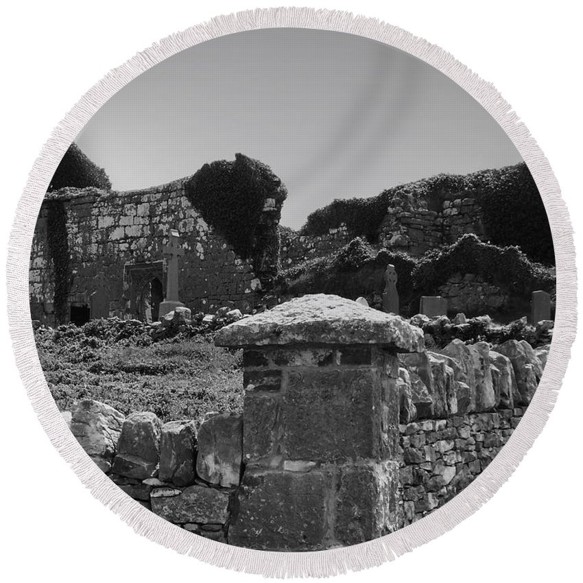 Irish Round Beach Towel featuring the photograph Ruins In The Burren County Clare Ireland by Teresa Mucha