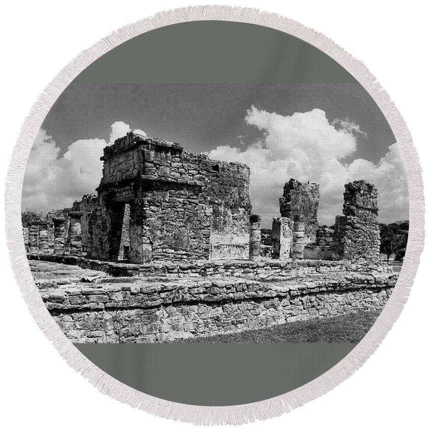 Ek Balam Round Beach Towel featuring the photograph Ruins Of Ek Balan by Michael Peychich