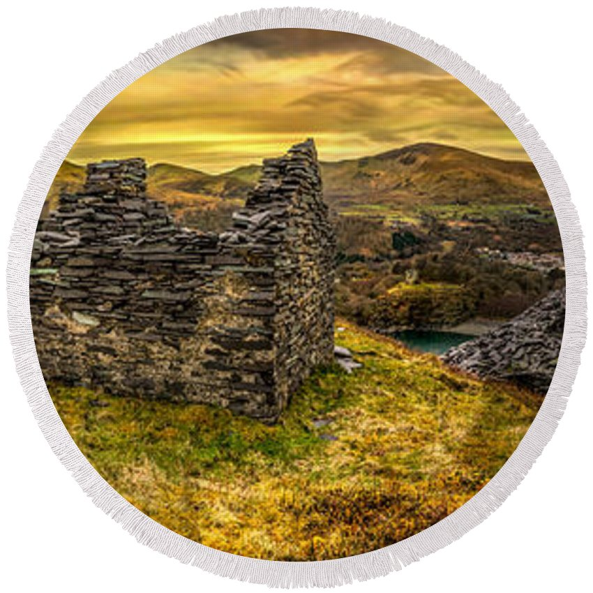 Landscape Round Beach Towel featuring the photograph Ruins Of Snowdonia Panorama by Adrian Evans