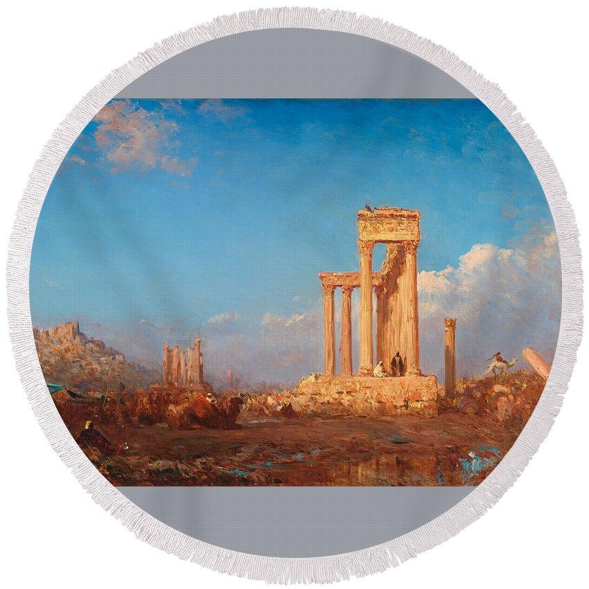 Felix Ziem Round Beach Towel featuring the painting Ruins. Palmyra by Felix Ziem