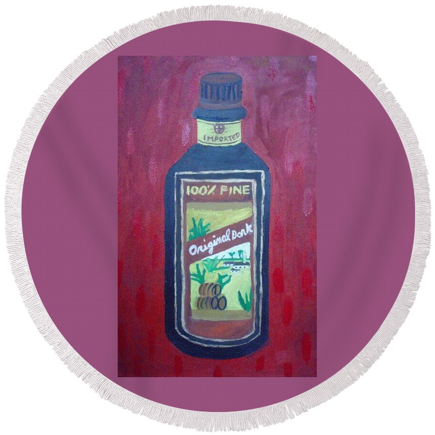 Oil On Canvas Round Beach Towel featuring the painting Rum by Patrice Tullai