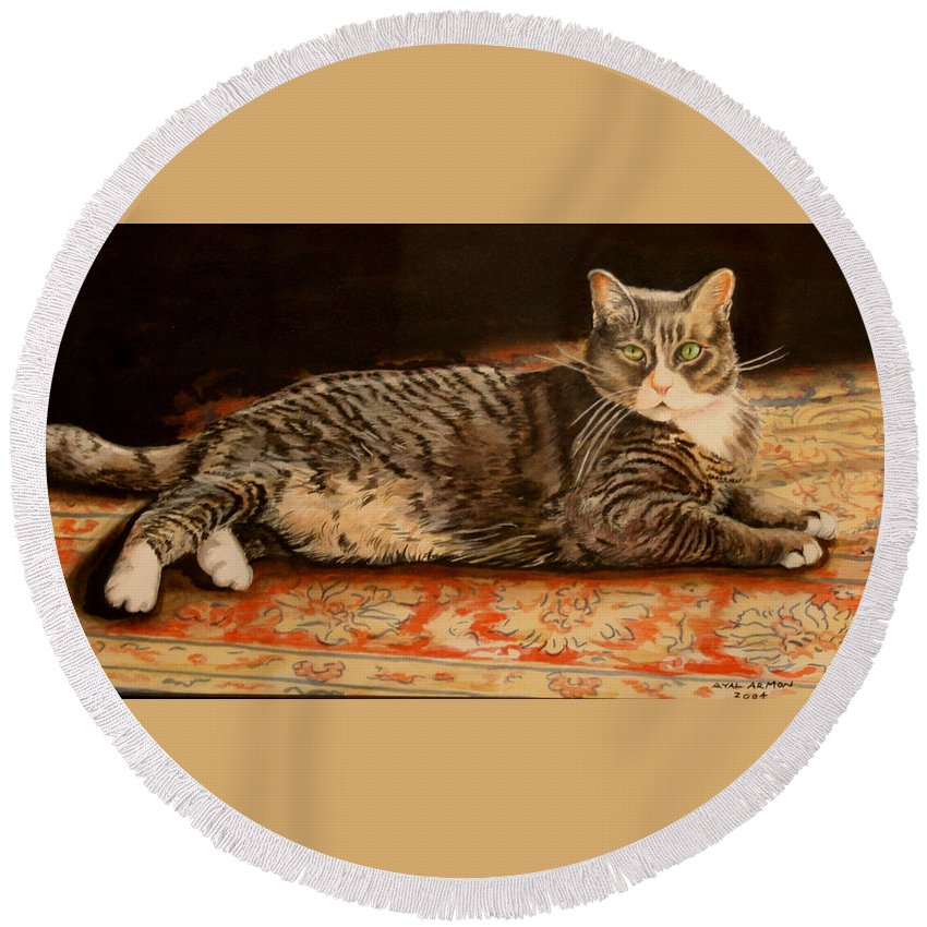 Cat Portriat Round Beach Towel featuring the painting Rumi by Ayal Armon