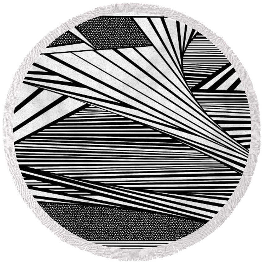 Dynamic Black And White Round Beach Towel featuring the painting Rumor by Douglas Christian Larsen