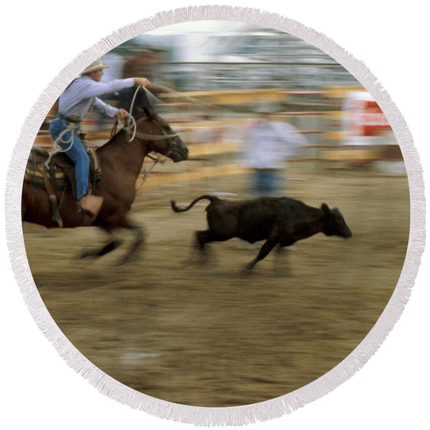 Rodeo Round Beach Towel featuring the photograph Run Little Doggie by Jerry McElroy