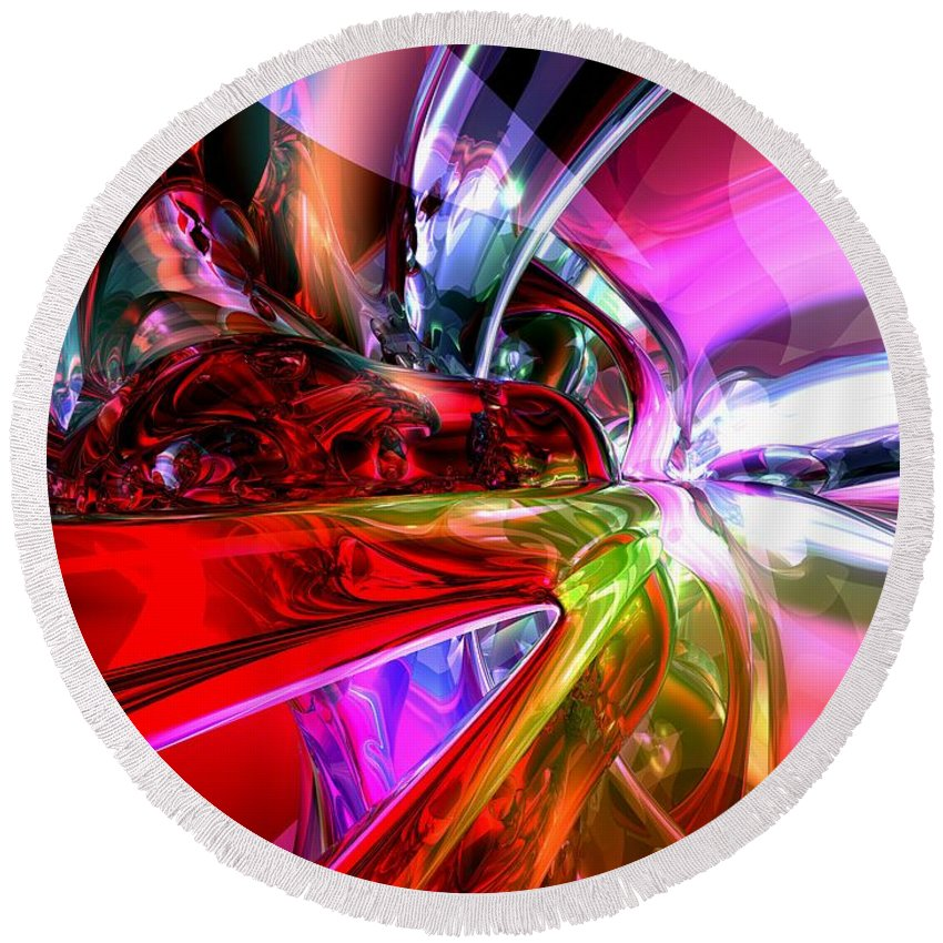 3d Round Beach Towel featuring the digital art Runaway Color Abstract by Alexander Butler