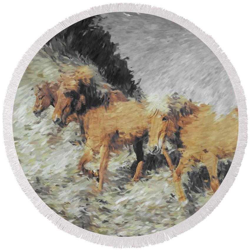 Horse Round Beach Towel featuring the photograph Running Horses by Gary Wilson