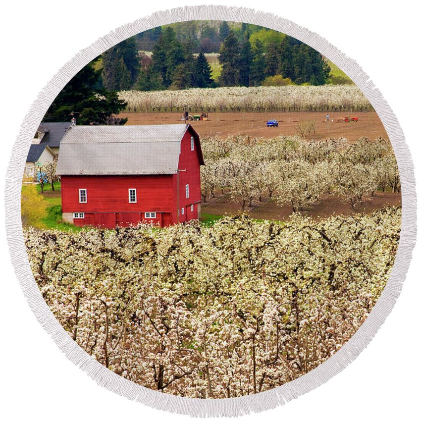 Barn Round Beach Towel featuring the photograph Rural Color by Mike Dawson