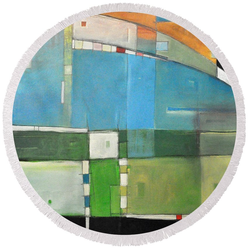 Landscape Round Beach Towel featuring the painting Rural Landscape Number 3 by Tim Nyberg