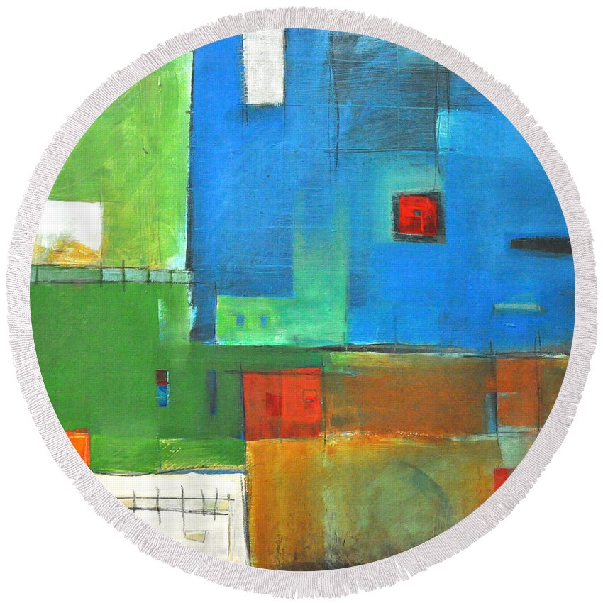 Landscape Round Beach Towel featuring the painting Rural Landscape Rusted by Tim Nyberg