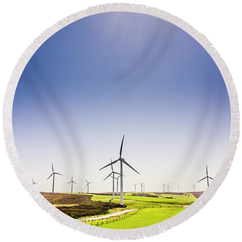 Sky Round Beach Towel featuring the photograph Rural Power by Jorgo Photography - Wall Art Gallery