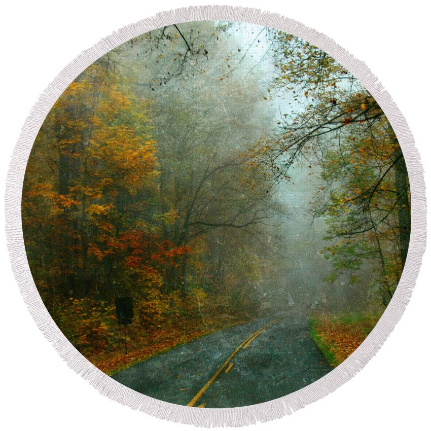 Road Round Beach Towel featuring the photograph Rural Road In North Carolina With Autumn Colors by Jill Battaglia