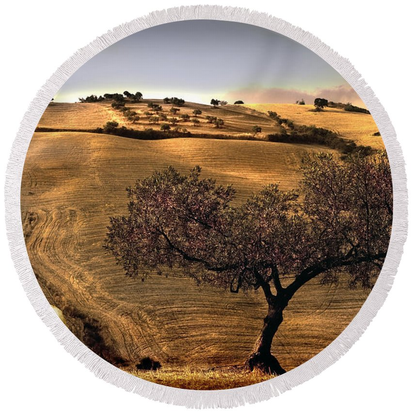 Landscape Round Beach Towel featuring the photograph Rural Spain View by Mal Bray