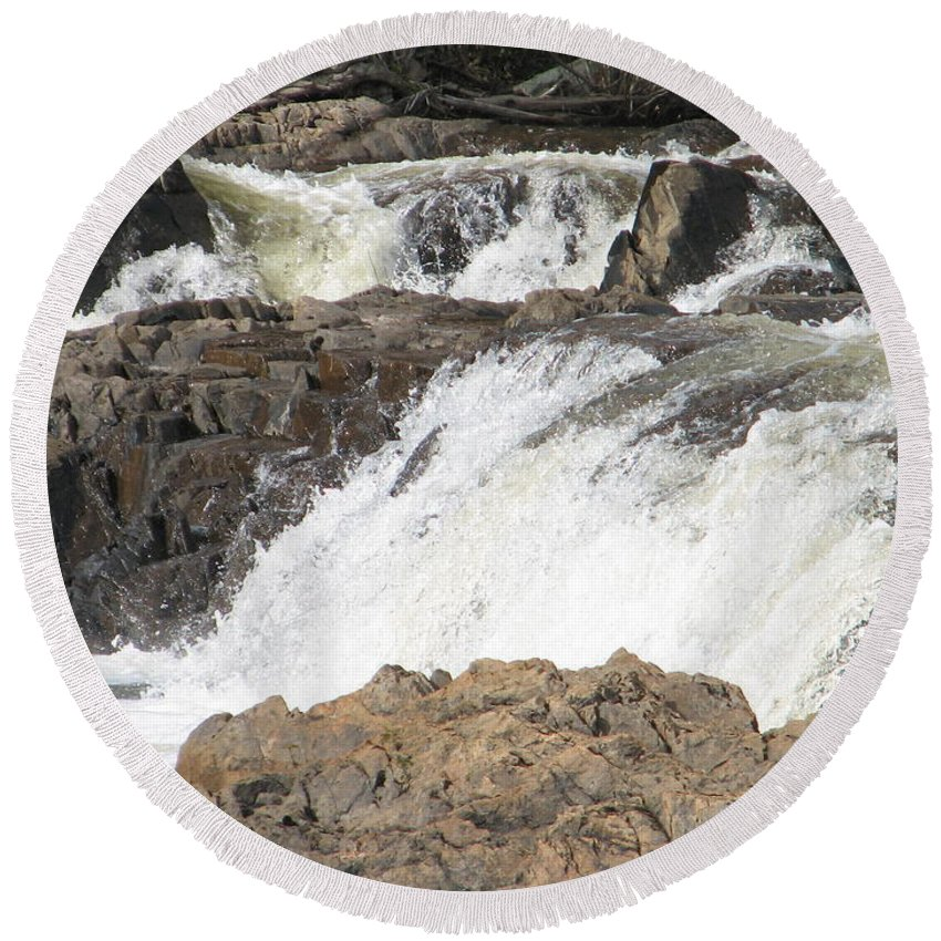 Waterfall Round Beach Towel featuring the photograph Rushing by Kelly Mezzapelle