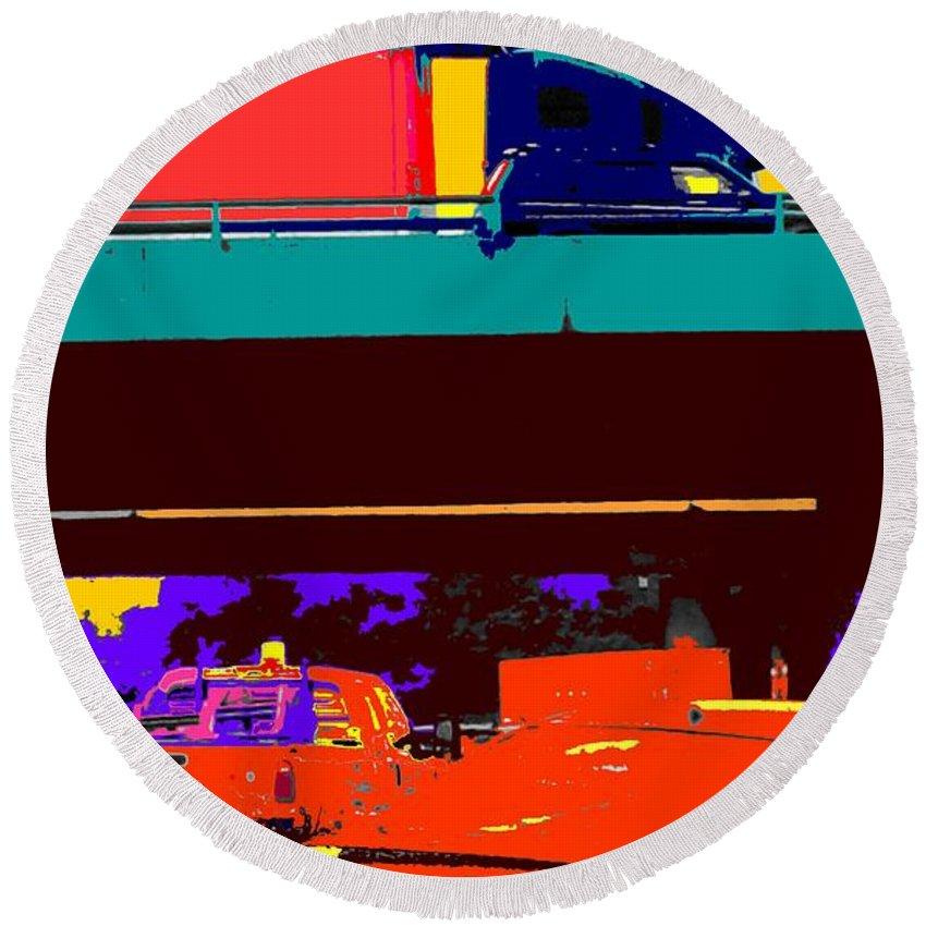 Cars Round Beach Towel featuring the digital art Rushing To Nowhere by Ian MacDonald