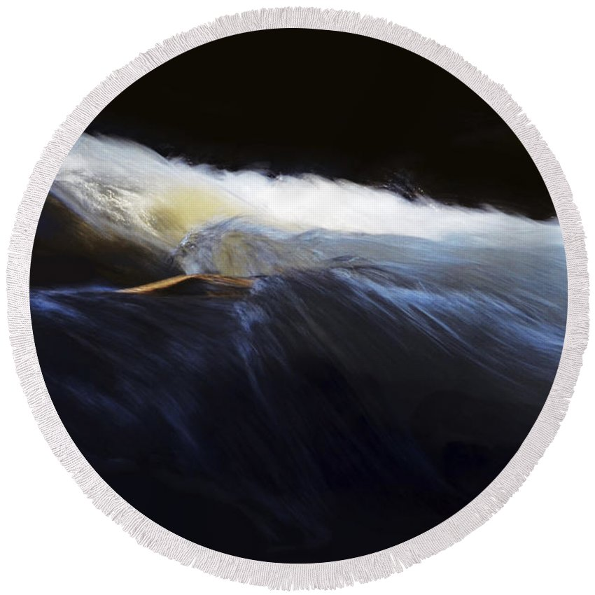 Landscape Round Beach Towel featuring the photograph Rushing Water 0480a by Dick Hopkins