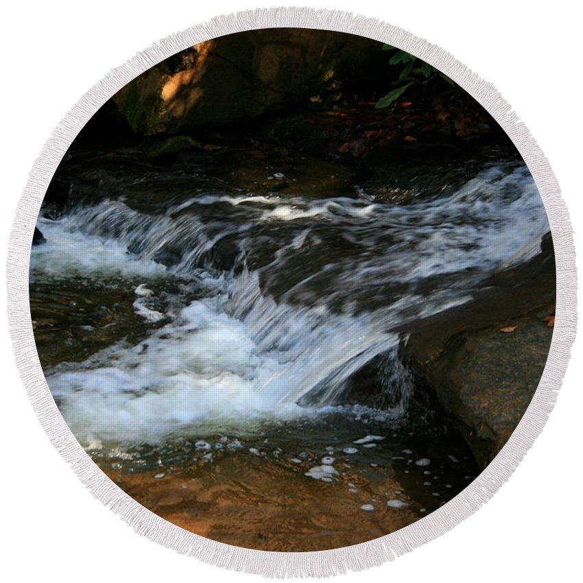 Water Round Beach Towel featuring the photograph Rushing Water by Cathy Harper