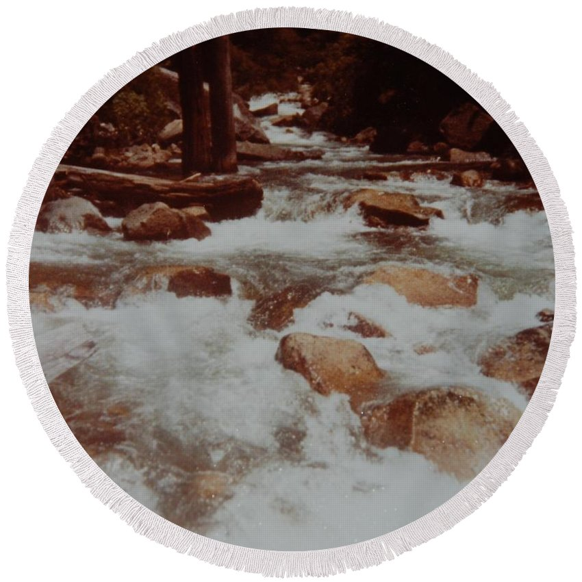 Water Round Beach Towel featuring the photograph Rushing Water by Rob Hans