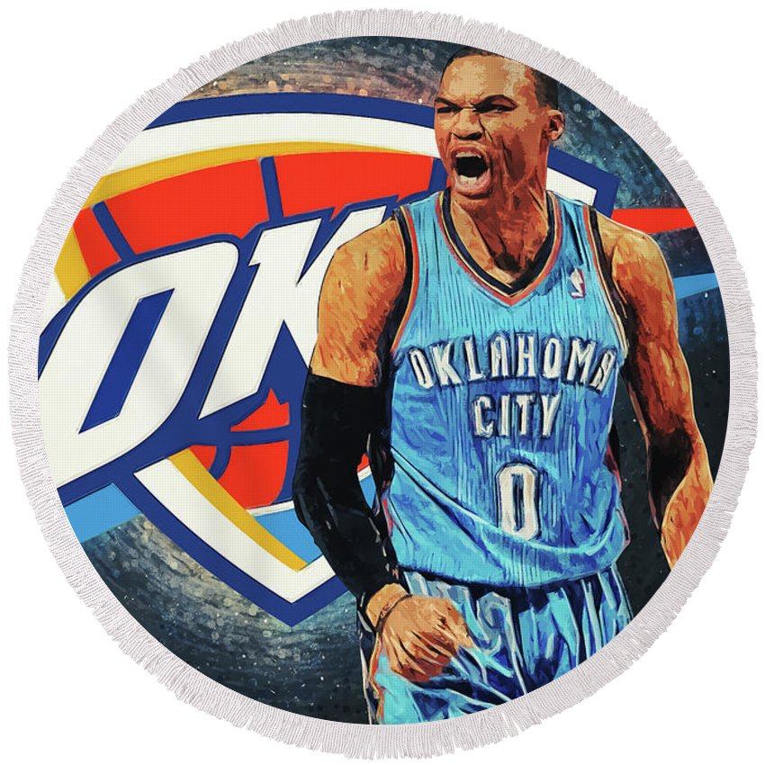 Russell Westbrook Round Beach Towel featuring the digital art Russell Westbrook by Zapista