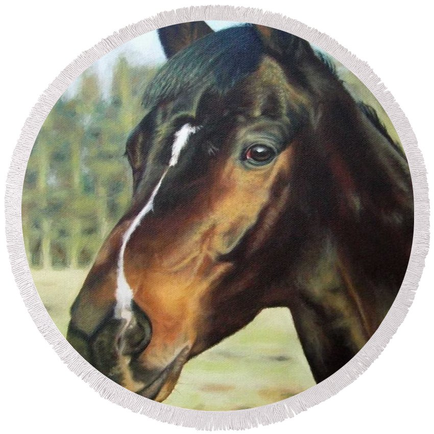 Horse Round Beach Towel featuring the painting Russian Horse by Nicole Zeug