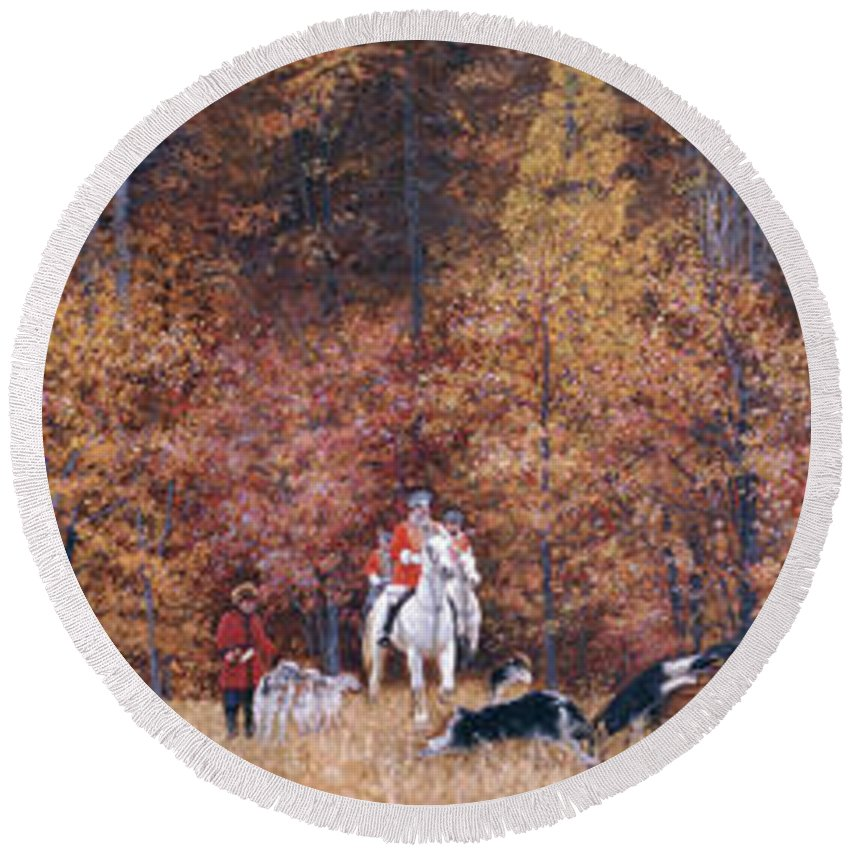 Russian Round Beach Towel featuring the painting Russian Hunting by Simon Kozhin