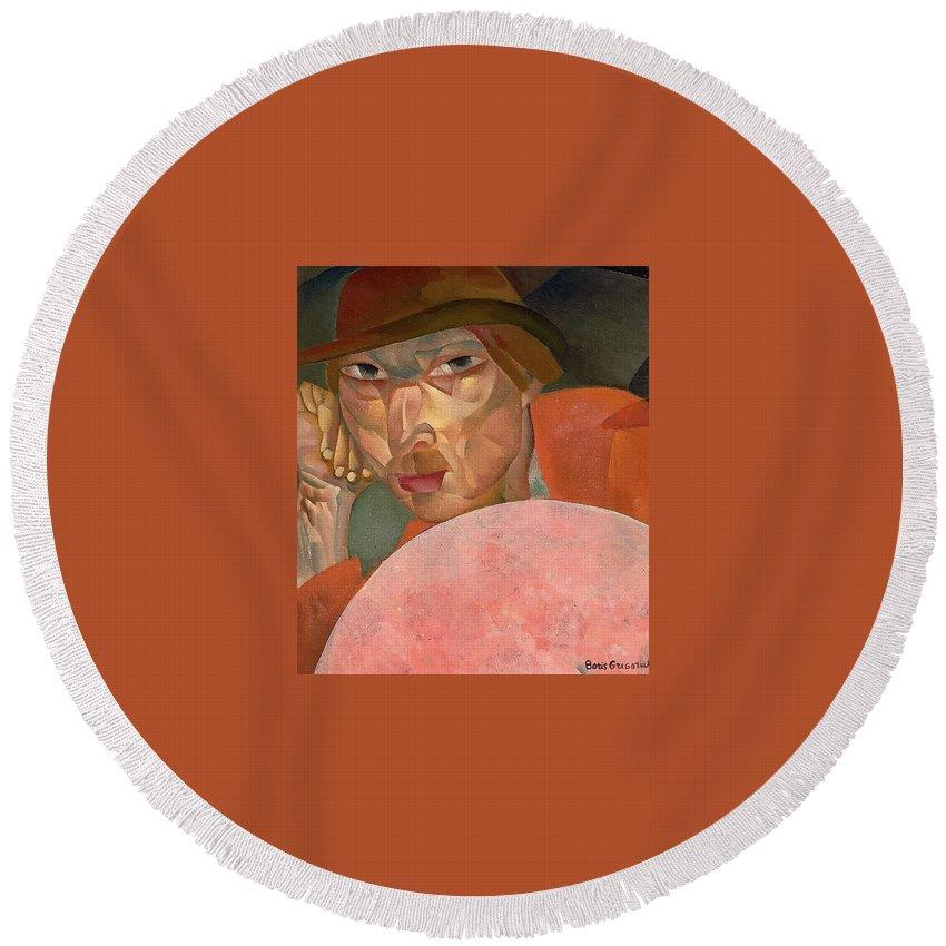 Face Round Beach Towel featuring the digital art Russian Man Boris Grigoriev by Eloisa Mannion