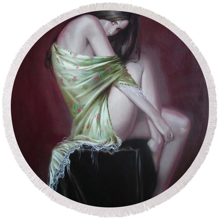 Art Round Beach Towel featuring the painting Russian Model by Sergey Ignatenko
