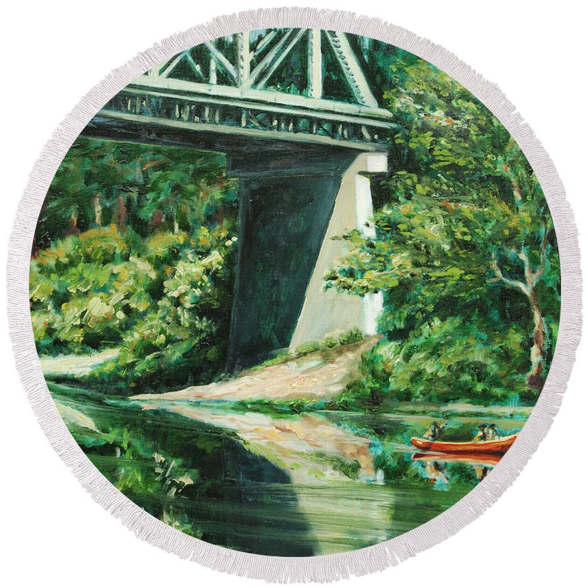 River Round Beach Towel featuring the painting Russian River by Rick Nederlof