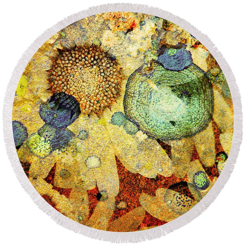 Texture Round Beach Towel featuring the photograph Rust And Flowers by Tara Turner