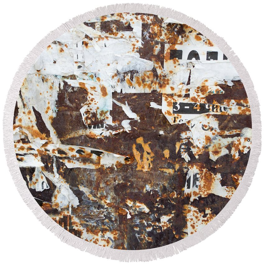 Abstract Round Beach Towel featuring the photograph Rust And Torn Paper Posters by John Williams