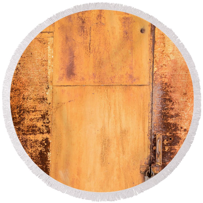 Abstract Round Beach Towel featuring the photograph Rust On Metal Texture by John Williams