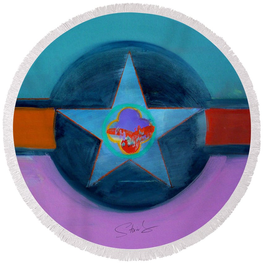 Star Round Beach Towel featuring the painting Rust Or Bust by Charles Stuart