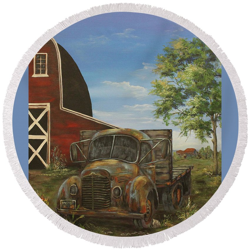 Antique Round Beach Towel featuring the painting Rusted Truck by Nadia Bindr