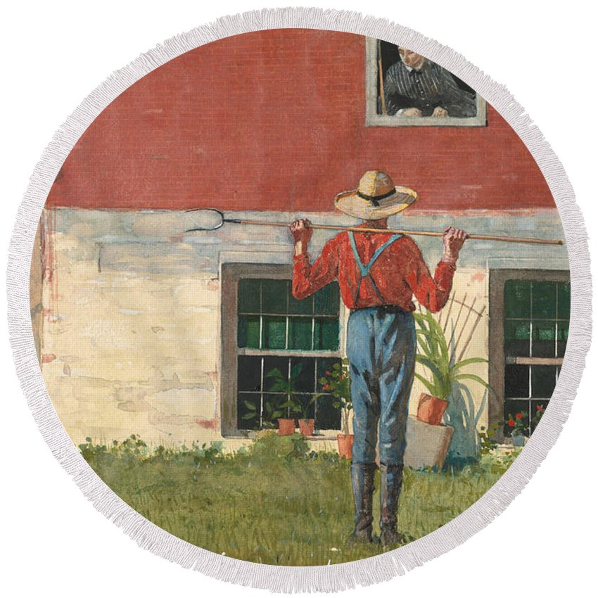 19th Century American Painters Round Beach Towel featuring the painting Rustic Courtship by Winslow Homer