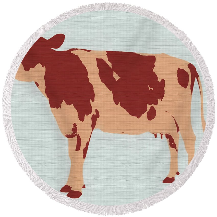 Rustic Cow Barn Door Round Beach Towel featuring the painting Rustic Cow by Dan Sproul