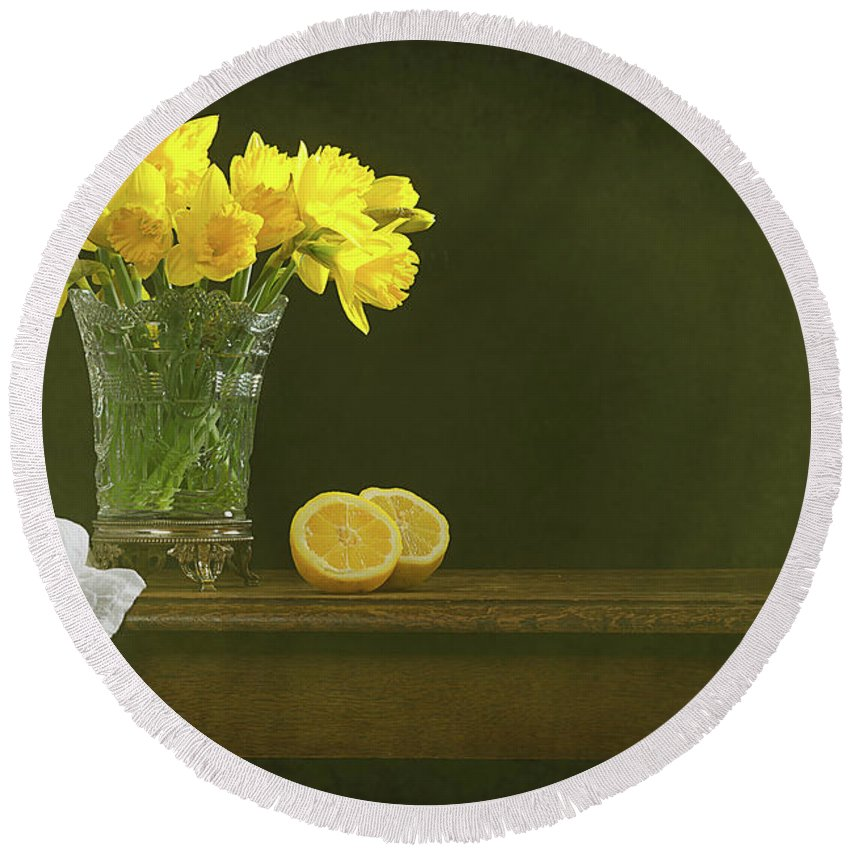 Bunch Round Beach Towel featuring the photograph Rustic Still Life With Daffodils by Amanda Elwell