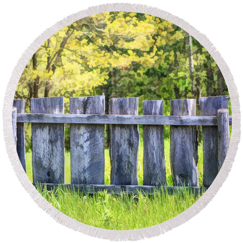 Old World Wisconsin Round Beach Towel featuring the painting Rustic Wooden Fence At Old World Wisconsin by Christopher Arndt