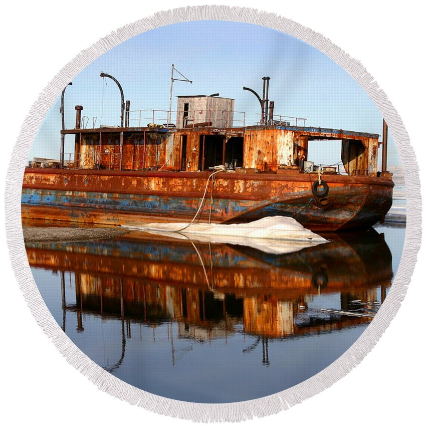 Boat Round Beach Towel featuring the photograph Rusty Barge by Anthony Jones