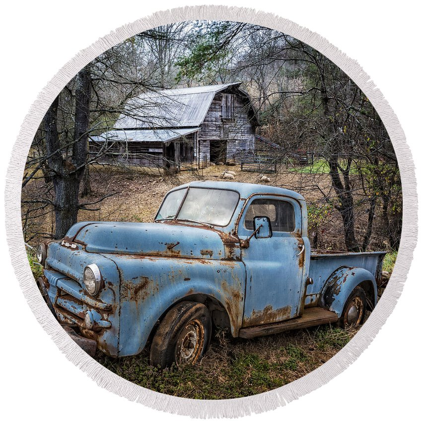 1950s Round Beach Towel featuring the photograph Rusty Blue Dodge by Debra and Dave Vanderlaan