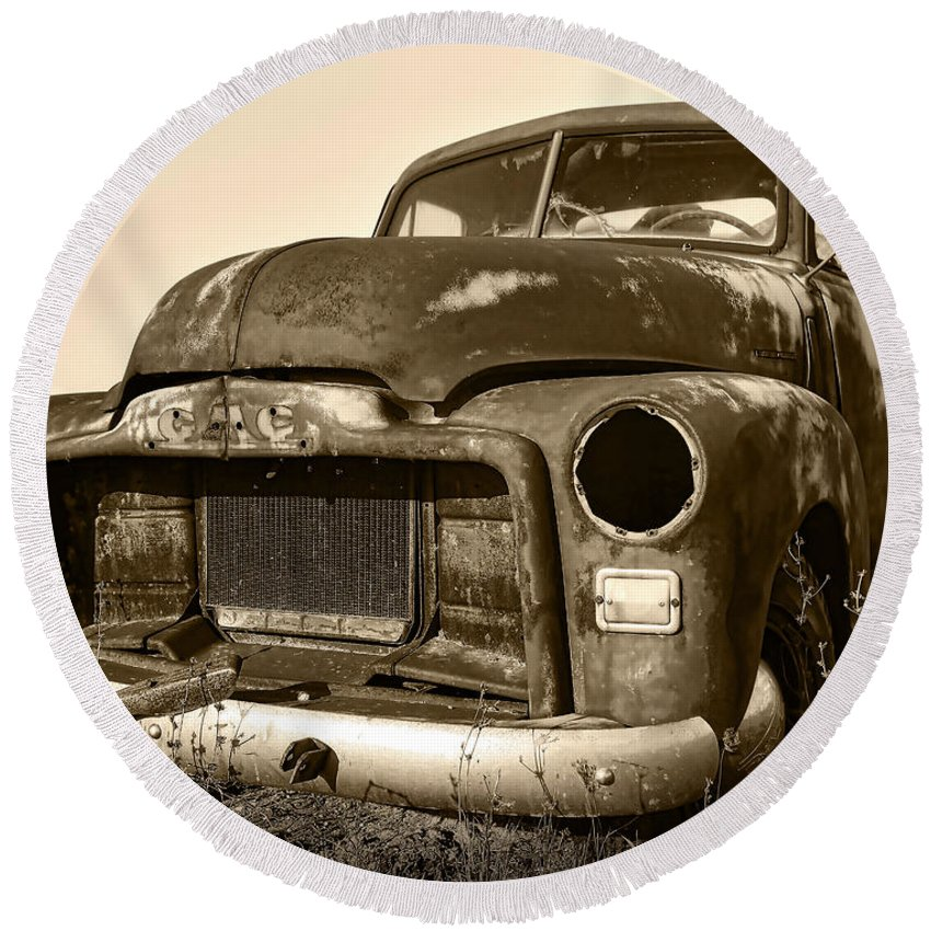 Vintage Round Beach Towel featuring the photograph Rusty But Trusty Old Gmc Pickup Truck - Sepia by Gordon Dean II