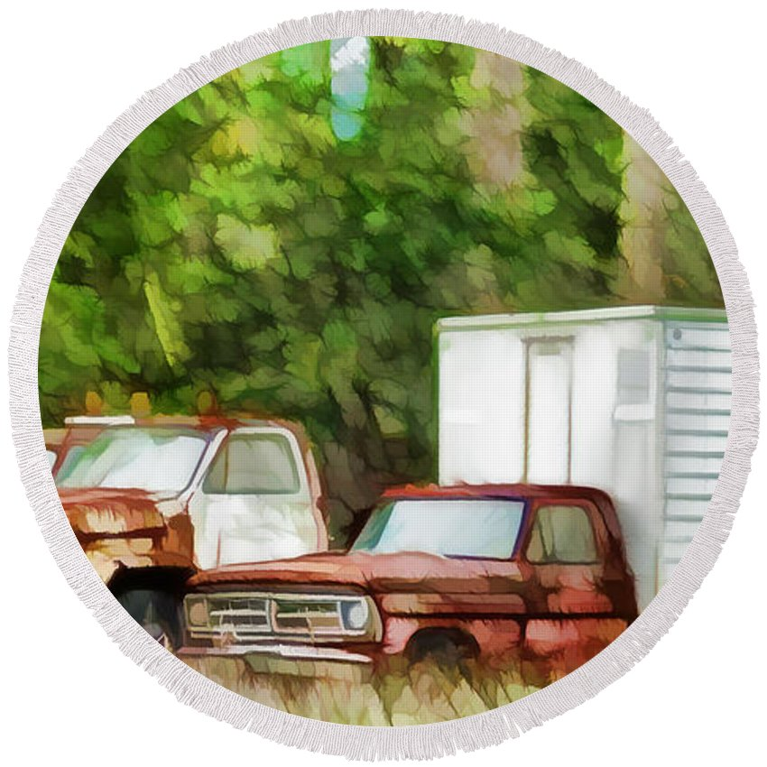 Rusty Old Abandoned Truck Round Beach Towel featuring the painting Rusty Old Abandoned Truck 1 by Jeelan Clark