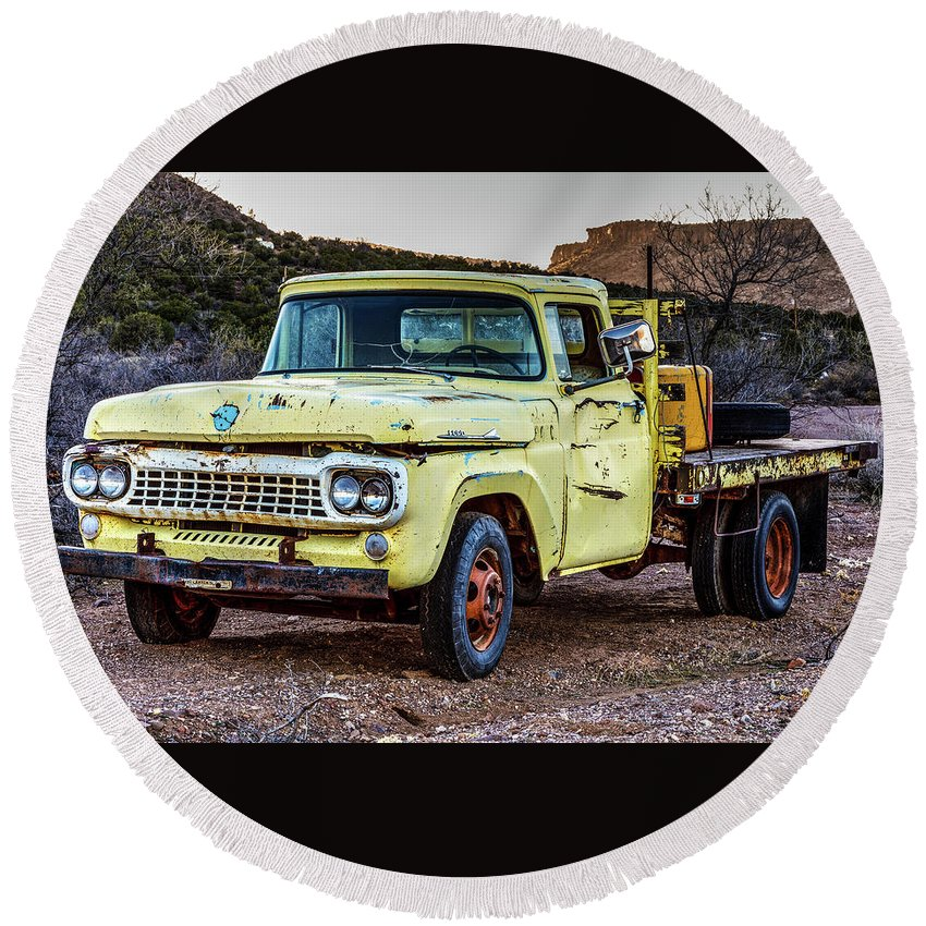 James Marvin Phelps Photography Round Beach Towel featuring the photograph Rusty Old Work Truck by James Marvin Phelps