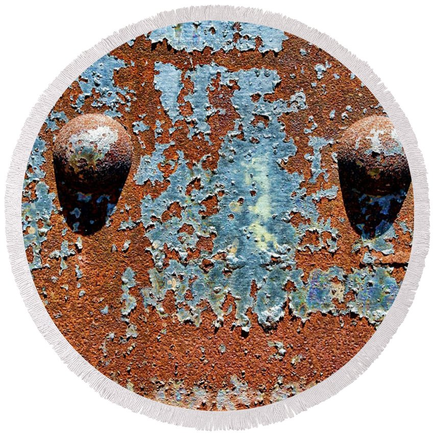 Rivet Round Beach Towel featuring the photograph Rusty Rivets by Olivier Le Queinec