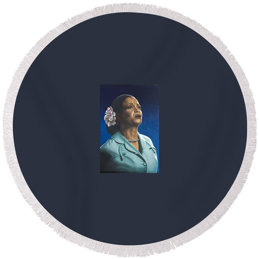 Portrait Round Beach Towel featuring the painting Ruth Jacott by Rob De Vries