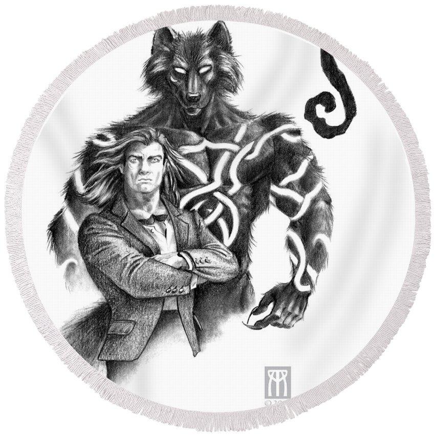 Werewolf Round Beach Towel featuring the drawing Ryan With Werewolf by Melissa A Benson