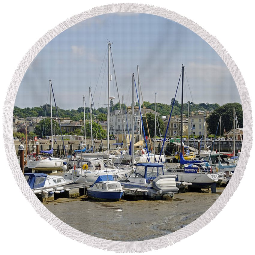 Ryde Round Beach Towel featuring the photograph Ryde Harbour by Rod Johnson