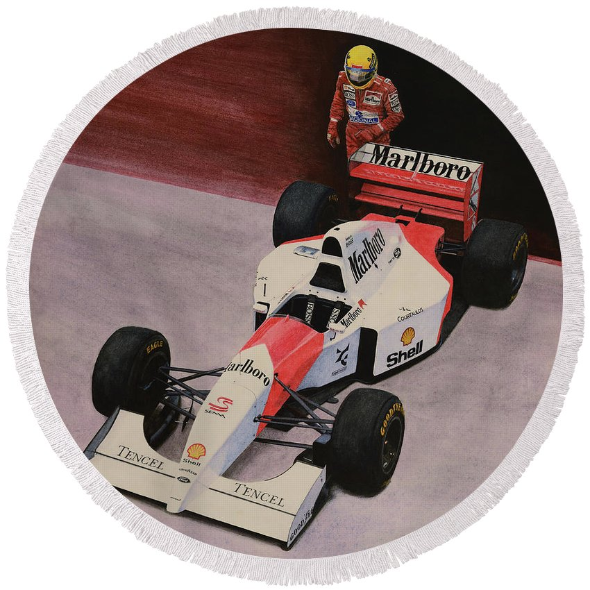 Formula One Round Beach Towel featuring the painting S by Oleg Konin