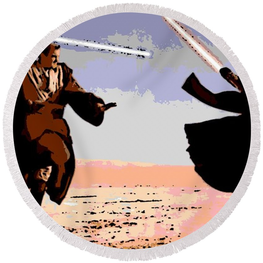 Obi-wan Kenobi Round Beach Towel featuring the photograph Saber Battle by George Pedro