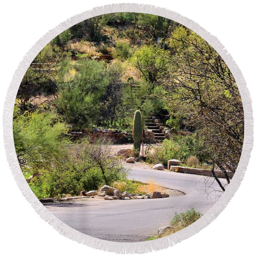 Sabino Canyon Round Beach Towel featuring the photograph Sabino Canyon Road by Kathryn Meyer